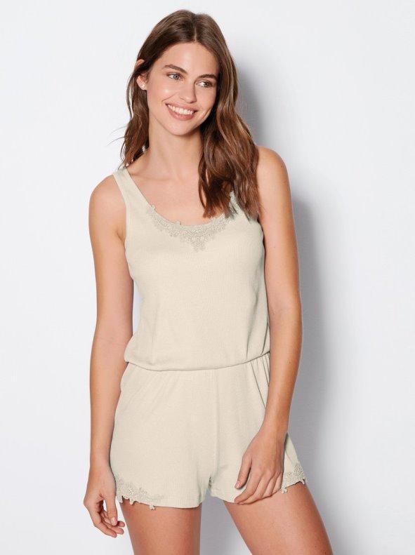 Pijama mono corto de mujer en punto canalé con guipur