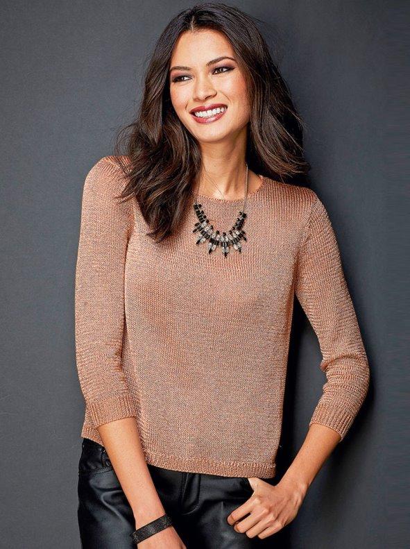 Jersey de vestir mujer manga 3/4 tricot con hilos metalizados