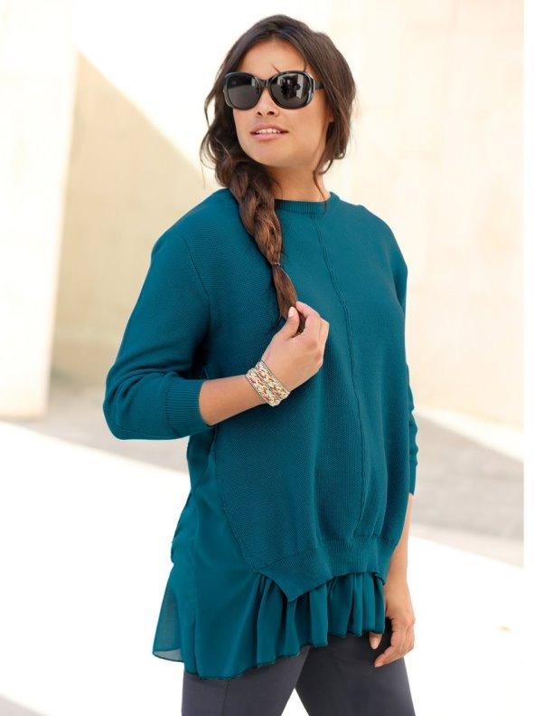 Jersey de algodón mujer con efecto de blusa interior en crepe georgette