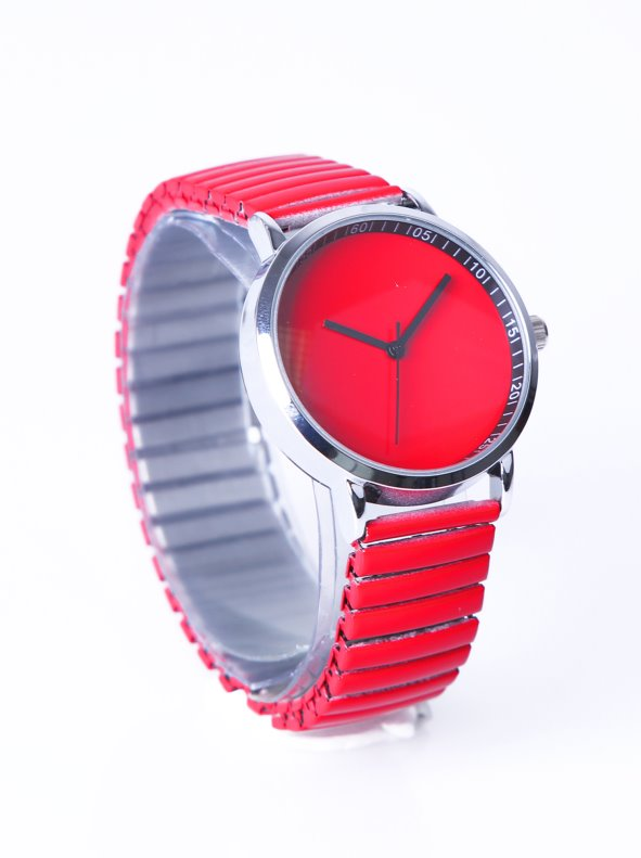 Alarm red for lady with metal belt elastic