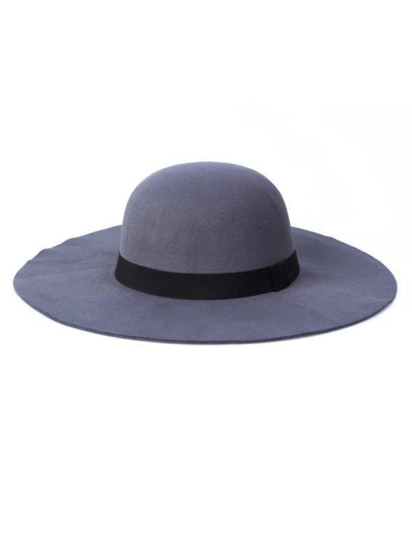 Sombrero pamela ala ancha mujer de fieltro gris