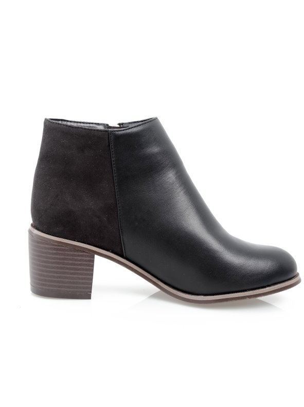 Women's ankle boots with zipper and block heel in faux leather and suede