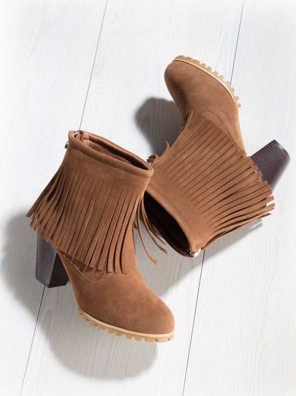Women's booties with high heels and long zippered fringes VENCA