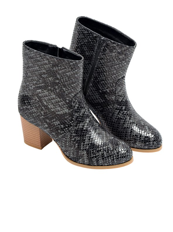 Women's boots simile python leather with wooden heel