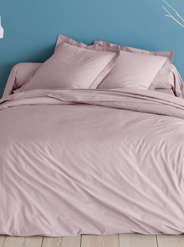 Funda nórdica suave color rosa PERCALE de algodón 3 SUISSES