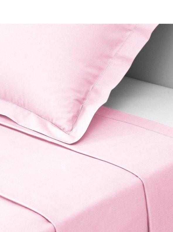 Sábana encimera de percal de algodón color rosa 3 SUISSES