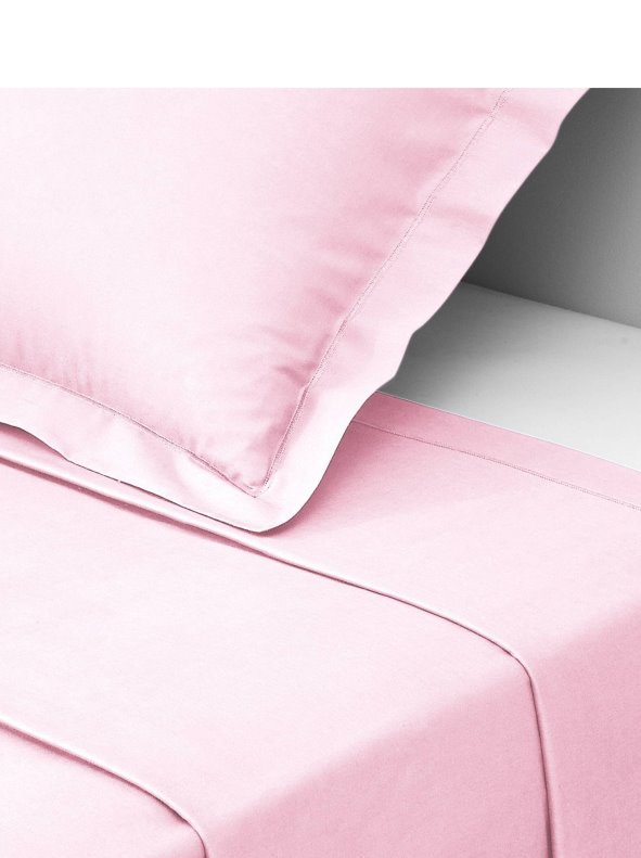 Sábana encimera PERCALE de algodón color rosa 3 SUISSES