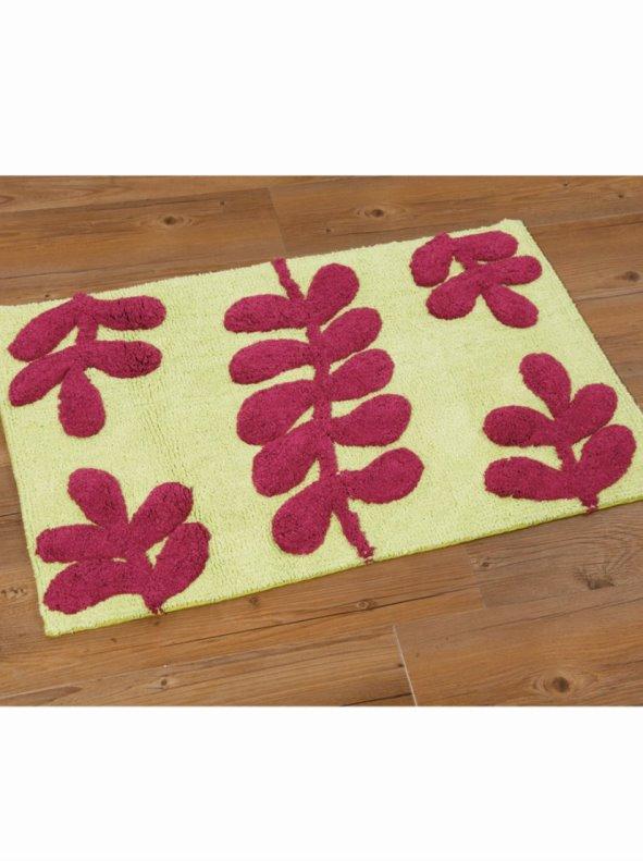 Alfombra de baño bicolor rizo 100% algodón hojas