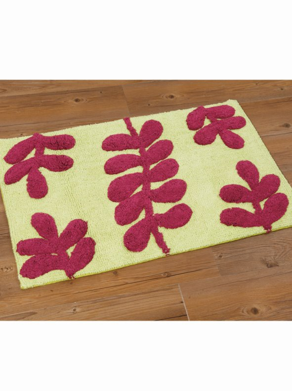 b15b1d9a2398 Alfombra de baño bicolor rizo 100% algodón hojas - Venca - 499019
