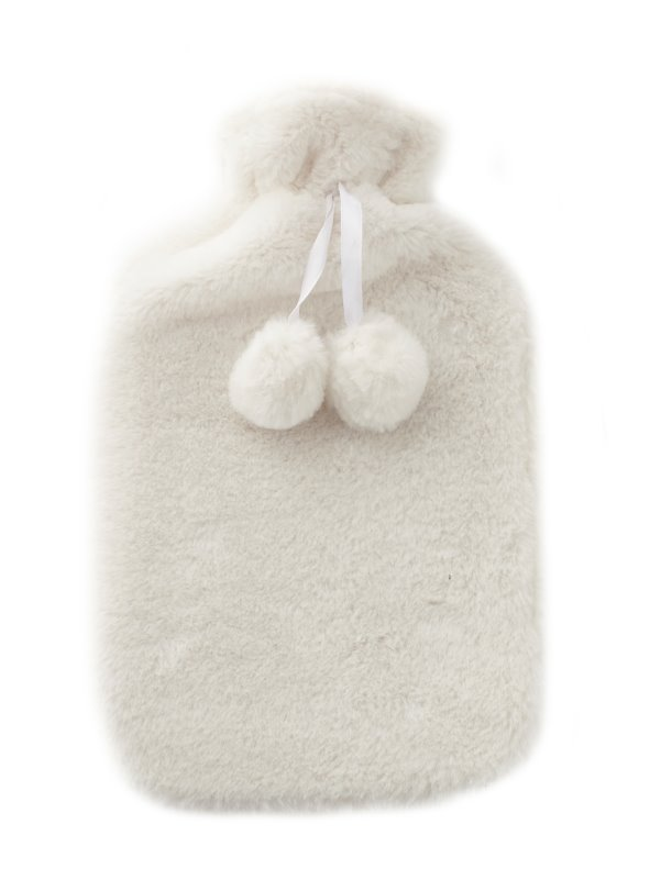 Bolsa de agua caliente para cama con funda de pelo