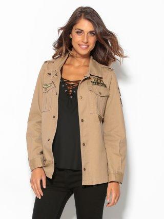 Chaqueta Parka Militar Mujer Con Cintura Ajustable Y Aplicaciones Venca 002159