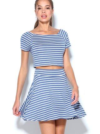 Conjunto mujer crop top y falda evasé de rayas TREND CAPSULE BY VENCA