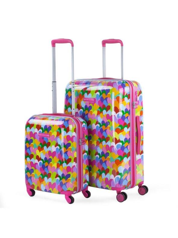 Juego De Maletas De Viaje Corazones Rígidas 4 Ruedas rosa Set(2uds.)