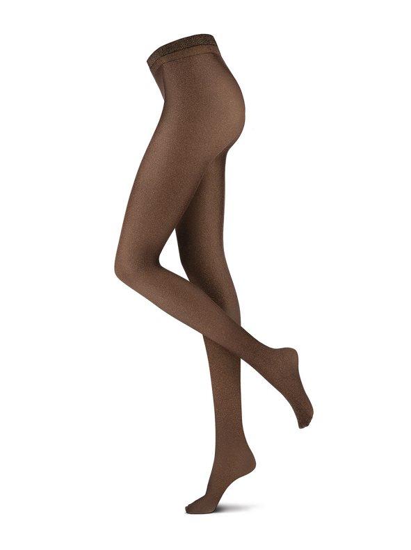 Panty liso con entramado brillante marrón M