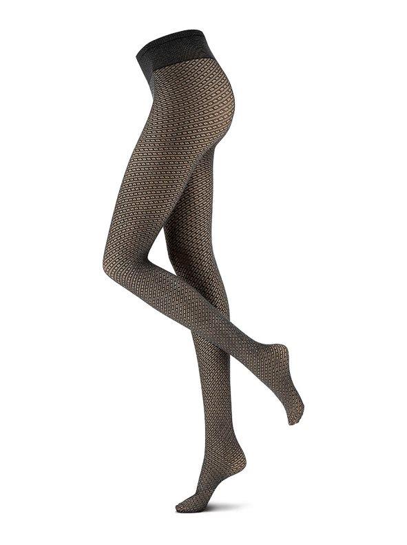 Panty 40 deniers con patrón de rayas en diagonal negro S